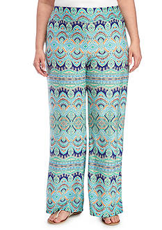 New Directions Plus Size Medallion Horizon Stripe Soft Pants