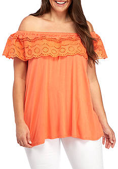 New Directions Plus Size Off The Shoulder Ruffle Top