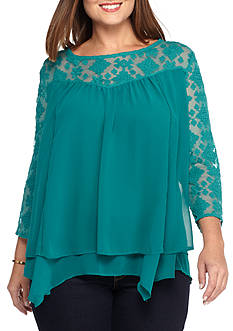 New Directions Plus Size Lace Yoke Tier Top