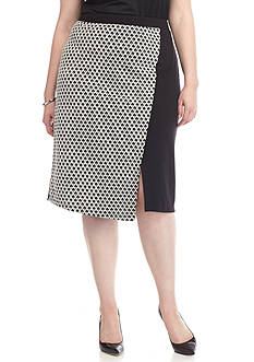 New Directions Plus Size Jacquard Front Panel Ponte Skirt