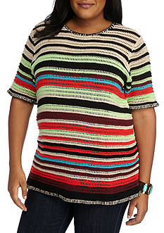 New Directions® Plus Size Striped Open Weave Sweater