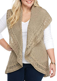 New Directions Plus Size Collar Shawl Vest