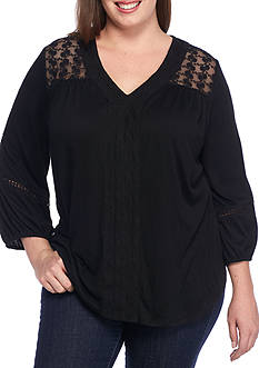 New Directions Plus Size Crochet Trim Top