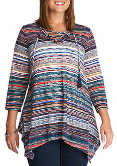 New Directions Plus Size Three-Quarter Sleeve Hacci Lace-Up Sweater