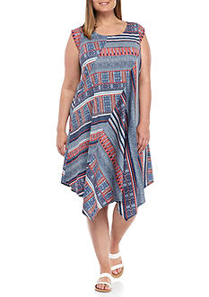New Directions Plus Size Cap Sleeve Printed Hanky Hem Dress