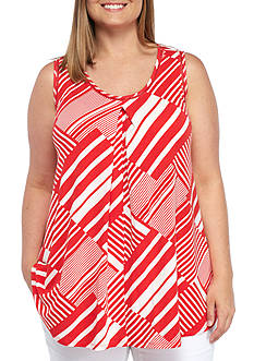 New Directions Plus Size Sleeveless Striped Tank