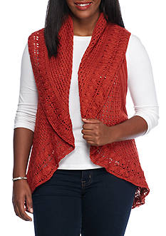New Directions® Plus Size Shawl Neck Vest