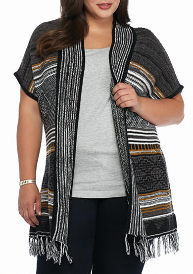 New Directions® Plus Size Striped Fringe Cardigan