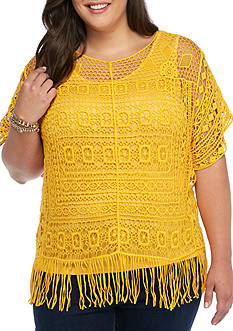 New Directions® Plus Size Crochet Fringe Top