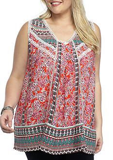 New Directions Plus Size Printed Sleeveless Pom Tank