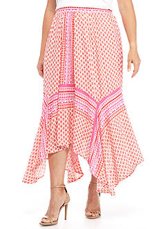 New Directions® Plus Size Hanky Hem Printed Midi Skirt
