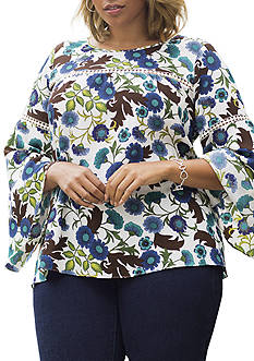 New Directions® Plus Size Bell Floral Top