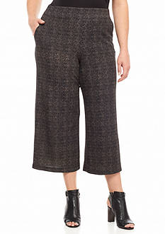 New Directions Plus Size Cropped Jacquard Printed Knit Pants