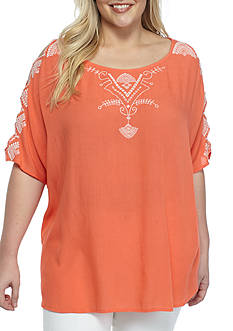 New Directions® Plus Size Embroidered Cut Out Sleeve Top