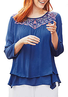 New Directions 3/4 Sleeve Solid Embroidered Yoke Plus Size Top