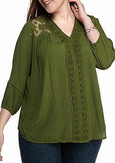 New Directions Plus Size Crochet Panel Lace Yoke Top