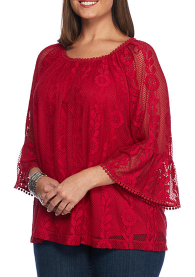New Directions® Plus Size Three-Quarter Bell Sleeve Lace Overlay Knit Blouse