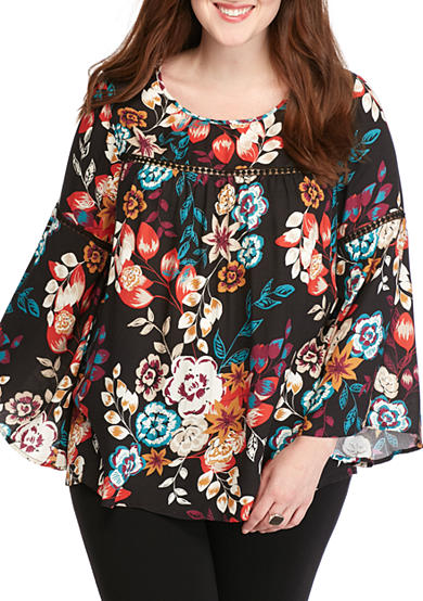 New Directions® Plus Size Bell Sleeve Floral Print Babydoll Top