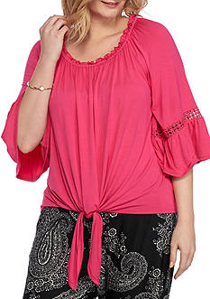 New Directions Plus Size Off Shoulder Top
