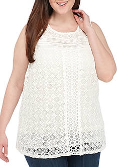 New Directions Plus Size Sleeveless All-Over Crochet Solid Tank