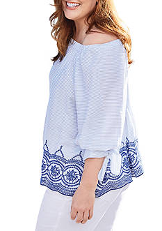 New Directions Plus Size Elastic Neck Off the Shoulder Embroidered Hem Top