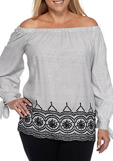 New Directions Plus Size Off The Shoulder Striped Blouse