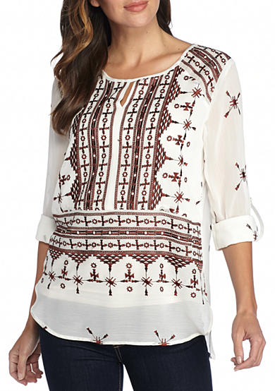 matty m Embroidered Roll Sleeve Blouse