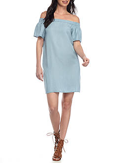 Willow and Clay Off-Shoulder Chambray Dress