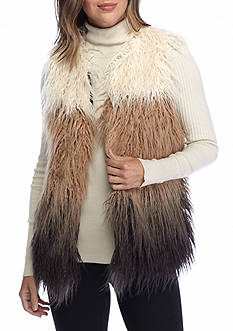 Willow and Clay Ombre Faux Fur Vest
