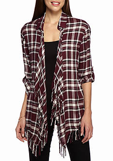 Willow and Clay Fringe Plaid Shirt
