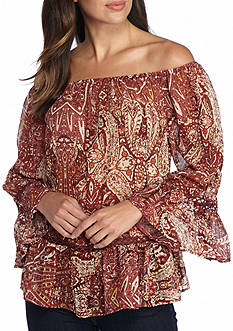 Willow and Clay Paisley Off The Shoulder Peasant Blouse