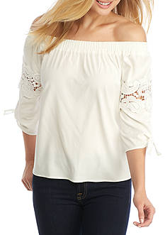 Willow and Clay Off the Shoulder Poplin Top