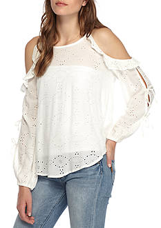 Willow and Clay Eyelet Cold Shoulder Top