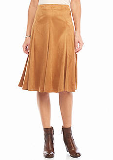 New Directions Faux Suede Gored Skirt