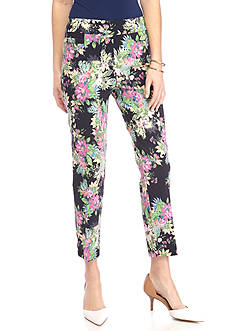 New Directions Floral Printed Millennium Pull-On Ankle Pant