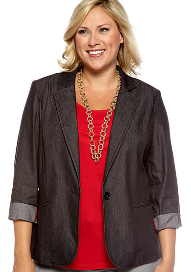 New Directions® Plus Size One Button Blazer