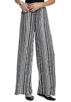 New Directions Pleated Stripe Palazzo Pants