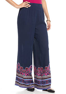 New Directions Crepon Border Print Palazzo Pant