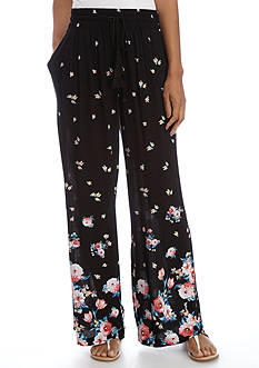 New Directions Floral Border Printed Crepon Pull-On Pant