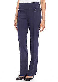 New Directions Solid Millennium Pull-On Pant With Zipper Trim