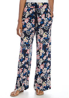 New Directions Floral Print Crepon Pull-On Pant