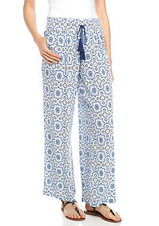 New Directions Printed Crepon Pull-On Soft Pants