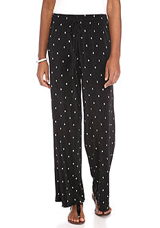 New Directions Printed Bodre Dot Pull-On Soft Pants
