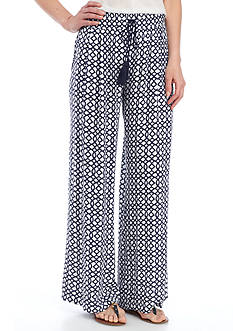 New Directions Printed Crepon Pull-On Wide Leg Pant