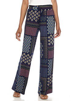 New Directions Printed Pull-On Wide Leg Pant