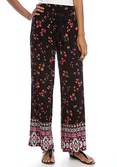 New Directions Border Printed Crepon Pull-On Pants