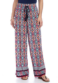 New Directions Medallion Border Print Crepon Pull-On Soft Pant