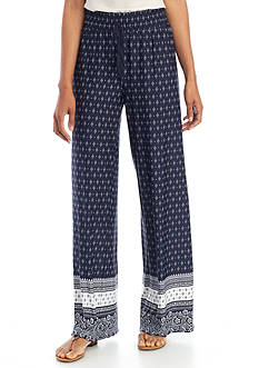 New Directions Border Printed Pull-On Wide Leg Pants