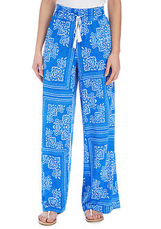 New Directions Printed DTY Pull-On Wide Leg Pants