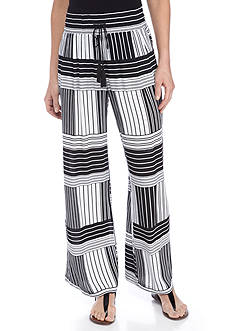 New Directions Mixed Stripe Printed Crepon Pull-On Pant